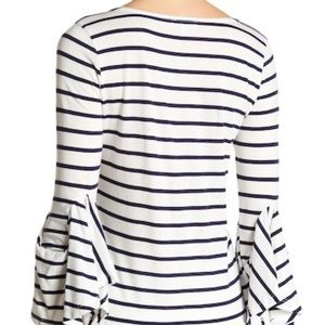 Susina Tops - Navy and White Striped 3/4 Length Ruffle Sleeve